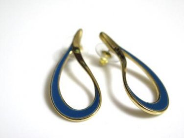 Blue Enamel Gold Tone Post Earrings