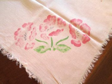 Vintage Floral Tablecloth Faded