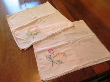 Vintage Embroidered Dish Towels Flour Sacks Set of 2