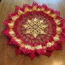 Ruffled Crochet Doily Red and Yellow