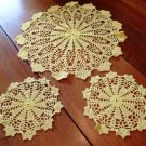 Vintage Yellow Pineapple Doily Set Crochet