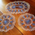 Vintage Blue and White Crochet Doily Set of 3