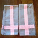 Classy Gray Napkins with Pink Stripe Highlight Set of 2