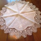 Large Embroidered Lacey Edge Table Topper Vintage
