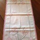 Vintage Crochet Trim Embroidered Table Runner Dresser Scarf