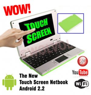 TOUCH SCREEN Green 7inch Android Laptop Installed WiFi 4gb/256mb (Pouch Case, Charger, Mouse)