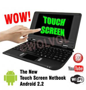 TOUCH SCREEN Black 7inch Android Laptop Installed WiFi 4gb/256mb (Pouch Case, Charger, Mouse)