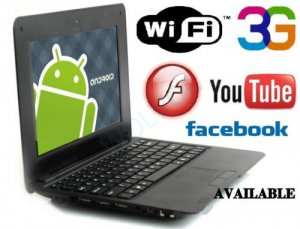 7inch Android Tablet Laptop Netbook Installed WiFi 4gb/256mb BLACK (Pouch Case, Charger, Mouse)