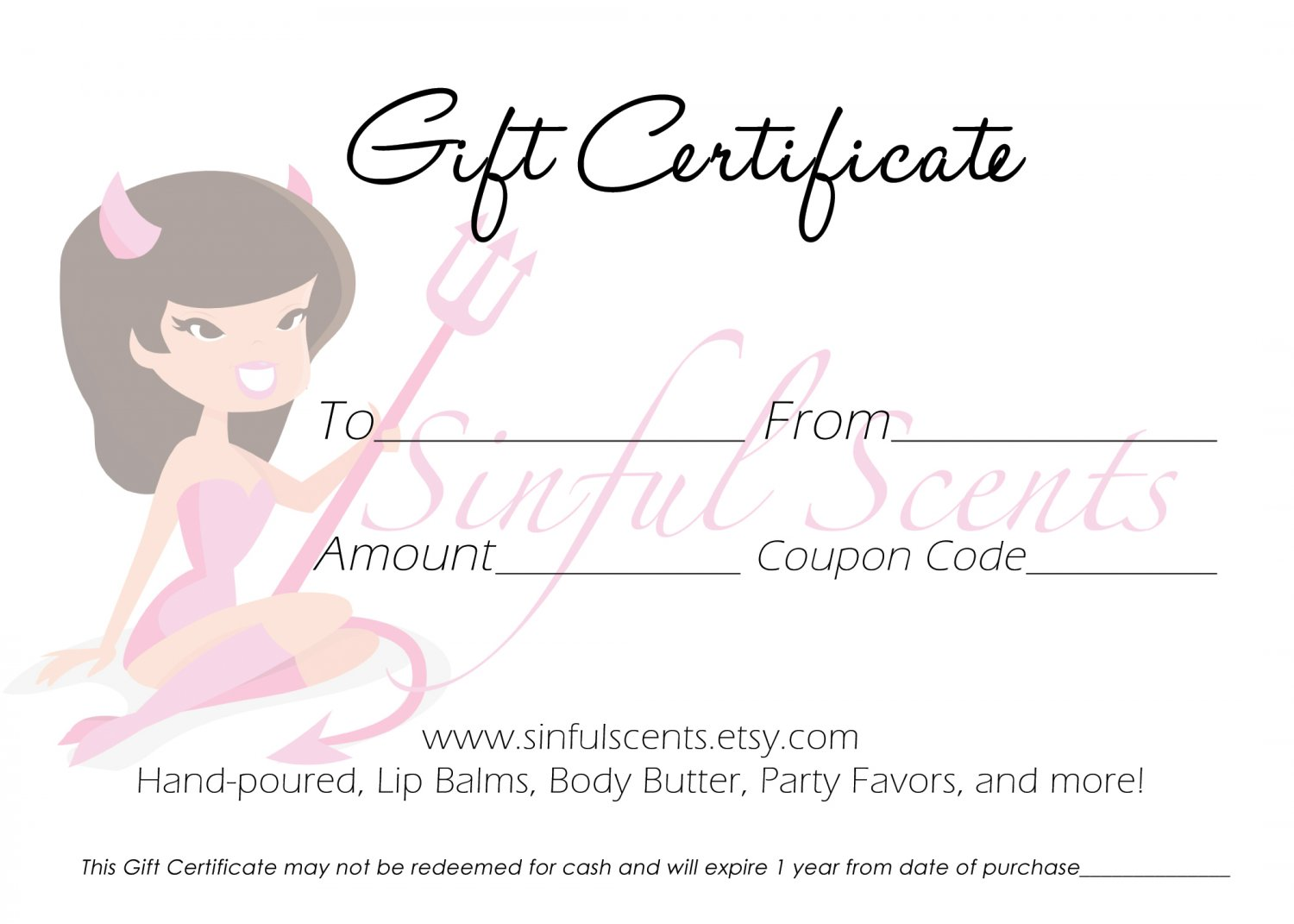 10.00 Sinful Scents Gift Certificate