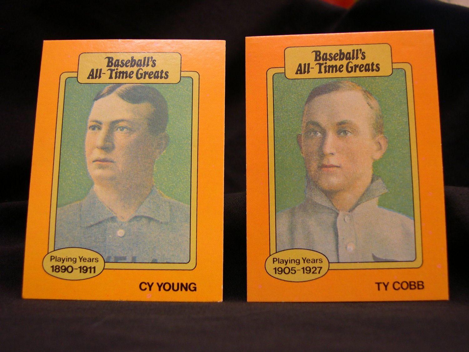Ty Cobb And Cy Young Baseballs All Time Greats Orange Baseball Cards
