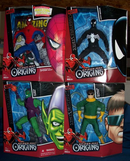 Spider-Man, Green Goblin, Doctor Octopus, and Black Costume Spidey Figures FREE SHIPPING