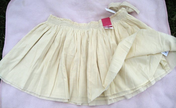 Old Navy pale Cream boho Skirt NEW Sz 12