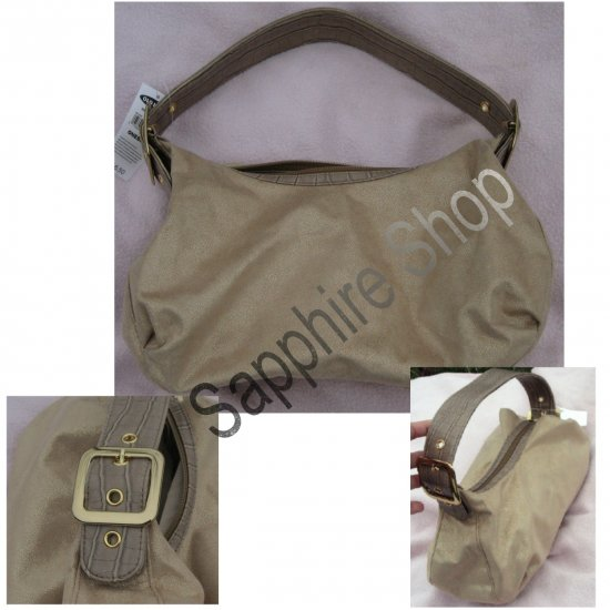 Old Navy Tan and Gold Purse with Faux Croc Strap