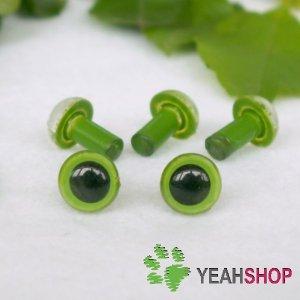6mm Green Safety Eyes / Plastic Eyes / Animal Eyes - 5 Pairs