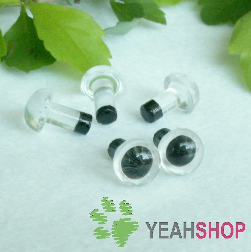 6mm Clear Safety Eyes / Plastic Eyes / Animal Eyes - 5 Pairs