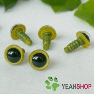 8mm Green Safety Eyes / Plastic Eyes / Animal Eyes - 5 Pairs