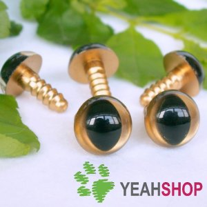 12mm Golden Safety Eyes for Cat / Plastic Eyes / Animal Eyes - 5 Pairs