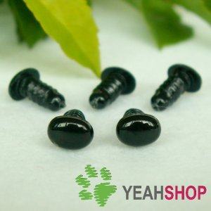 6mmx4.5mm Black Oval Safety Eyes / Plastic Eyes / Animal Eyes - 10 Pairs