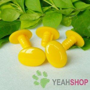16mmx12mm Yellow Oval Safety Eyes / Plastic Eyes / Animal Eyes - 5 Pairs
