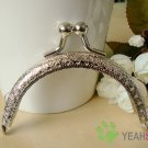 Silver Embossed Purse Frame - Half Round Bead - 8.5cm / 3.3 inch (PF85-2)