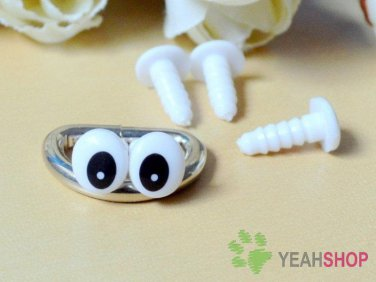 8.5mmx7mm Oval Comic Eyes / Safety Eyes / Printed Eyes - 5 Pairs