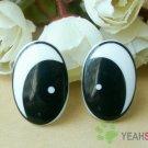 22mmx15mm (K) Black Comic Eyes / Safety Eyes / Printed Eyes - 2 Pairs