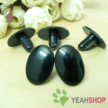 22mmx15mm Black Safety Eyes / Plastic Eyes - 5 Pairs