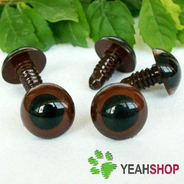 15mm Brown Safety Eyes / Plastic Eyes / Animal Eyes - 5 Pairs
