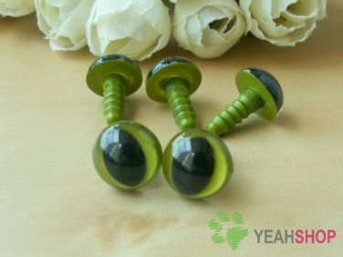 12mm Grass Green Safety Eyes for Cat / Plastic Eyes / Animal Eyes - 5 Pairs