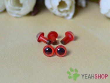 6mm Red Safety Eyes / Plastic Eyes / Animal Eyes - 5 Pairs