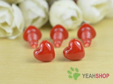 10mmx9mm Deep Red Heart Safety Nose / Plastic Nose - 10 Pcs