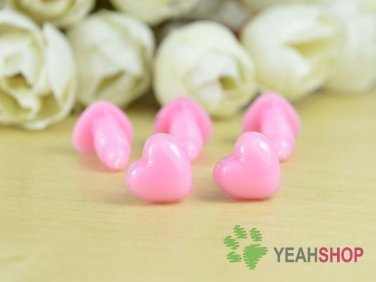 10mmx9mm Pink Heart Safety Nose / Plastic Nose - 10 Pcs