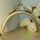 Antique Brass Half Round Small Bead Purse Frame - 8.5cm / 3.3 inch (PF85-3)
