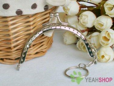 Silver Purse Frame with Key Ring - Half Round Bead - 8.5cm / 3.3 inch (PF85-4)