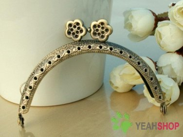 Antique Brass Embossed Purse Frame - Half Round Flower - 8.5cm / 3.3 inch (PF85-6)