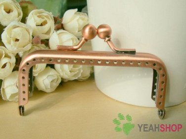 Antique Copper Rectangle Bead Purse Frame with Loop - 8cm / 3.1 inch (RPF-6)