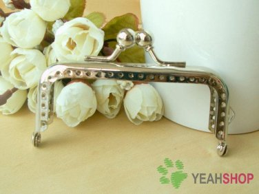 Silver Color Rectangle Bead Purse Frame with Loop - 8cm / 3.1 inch (RPF-6)