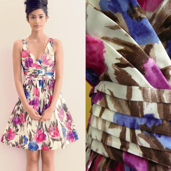 NWT Ivory Pink Purple Blue Painted Floral Print Garden Party Dress USD128 M 10