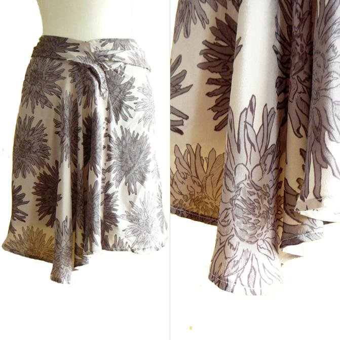 NWT Forever 21 Taupe Purple-Gray Floral Burst Print Floaty Silk Drape Skirt S P