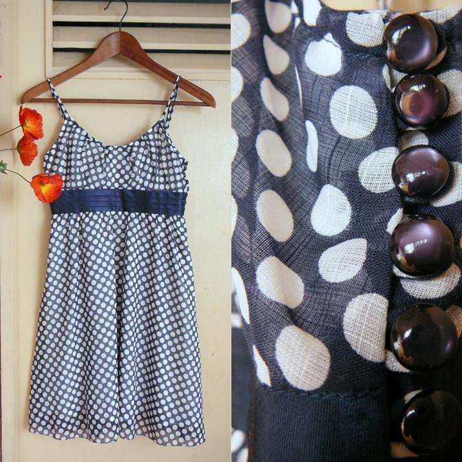 Dark Navy Blue Polkadot Chiffon Overlay Sundress + Purple Pearl Buttons XXS XS