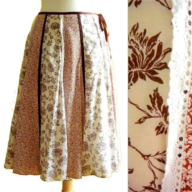 "Cream & Brown Panelled Boho Cotton Midi Skirt Country Floral Print 140"" Hem XS S"