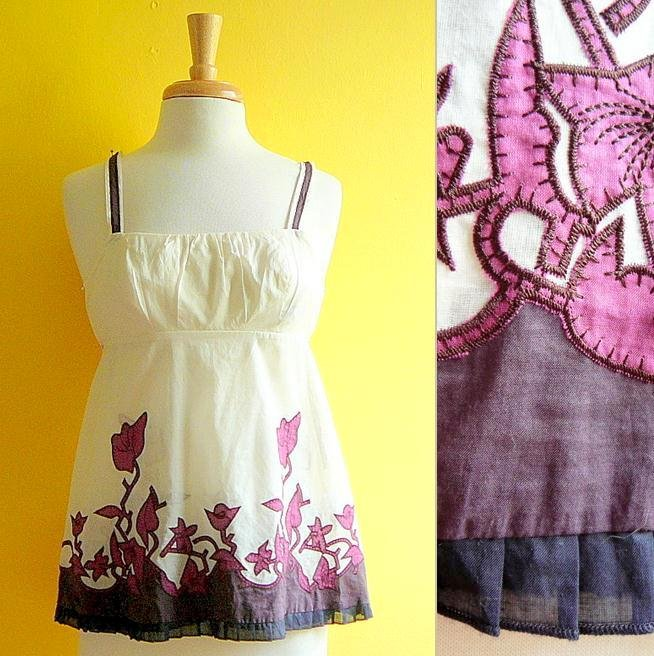 NWT Warehouse Cream Plum Brown Sheer Cotton Swing Top Appliqué Flowers USD90 S 4