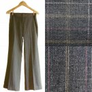 Mango MNG Charcoal Gray Pink Yellow Pinstripes & Checks Contrast Work Pants XS S