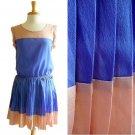 NWT Tan Brown & Sky Blue Colorblock Lightweight Pleated Cheerleader Dress S M