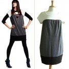 Necessary Objects Colorblock White Gray Black Colorblock Winter Knit Dress M L