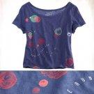 NWT Aerie Love on the Run Dark Blue Red Abstract Print Crop T-Shirt Tee L