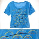 NWT Aerie Deep Blue Pool Yellow Red Pool Waves Print Cropped T-Shirt Tee S