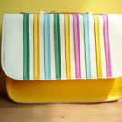 NWT Rainbow Bright Pebbled Faux Leather Mini Satchel / Clutch Bag - White Yellow