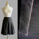 Polished Black Linen Pleated Work Office Skirt Hot Pink Contrast Stitching XS 0