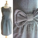 Cute Gray Tweedy Chevron Weave Fitted Bodice Sweetheart Shift Day Dress Bow S M